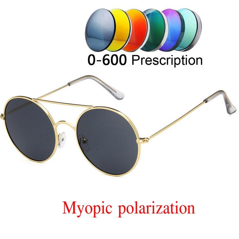 2019 Custom Made Myopia Minus Prescription Polarized Lens Sunglasses Vintage Lady Round Double Bridge Punk Sunglasses Unisex NX