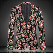 2016 Spring and Autumn British style fashion personality men blazer Plant flower bud beautifully print quality blazer men M-4XL