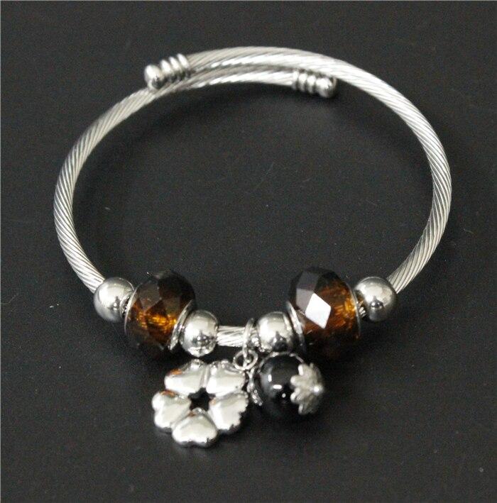 2017 beliebte Edelstahl Silber Braun Stein Perlen Armband Herz Blume Charme  Damen Frauen Armband Armreif Open style Armreif in 2017 beliebte Edelstahl  ... 0ef2eeee2b