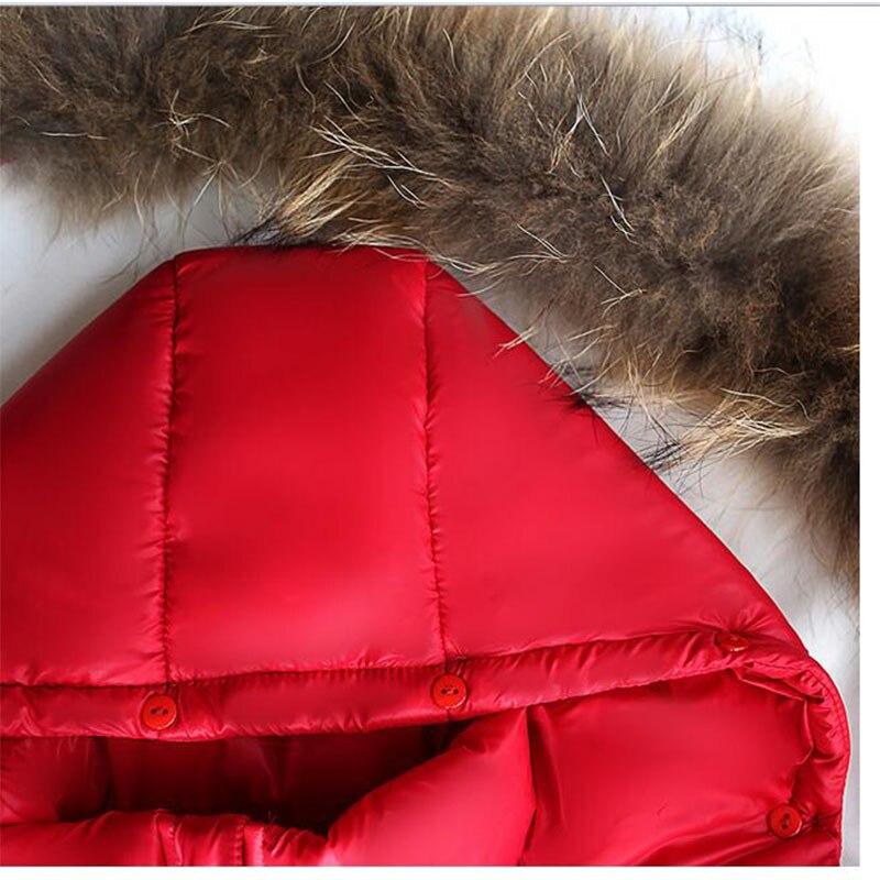 fb4bef7ed9fe Ywstt Boys girls real raccoon fur collar quilted waterproof duck ...