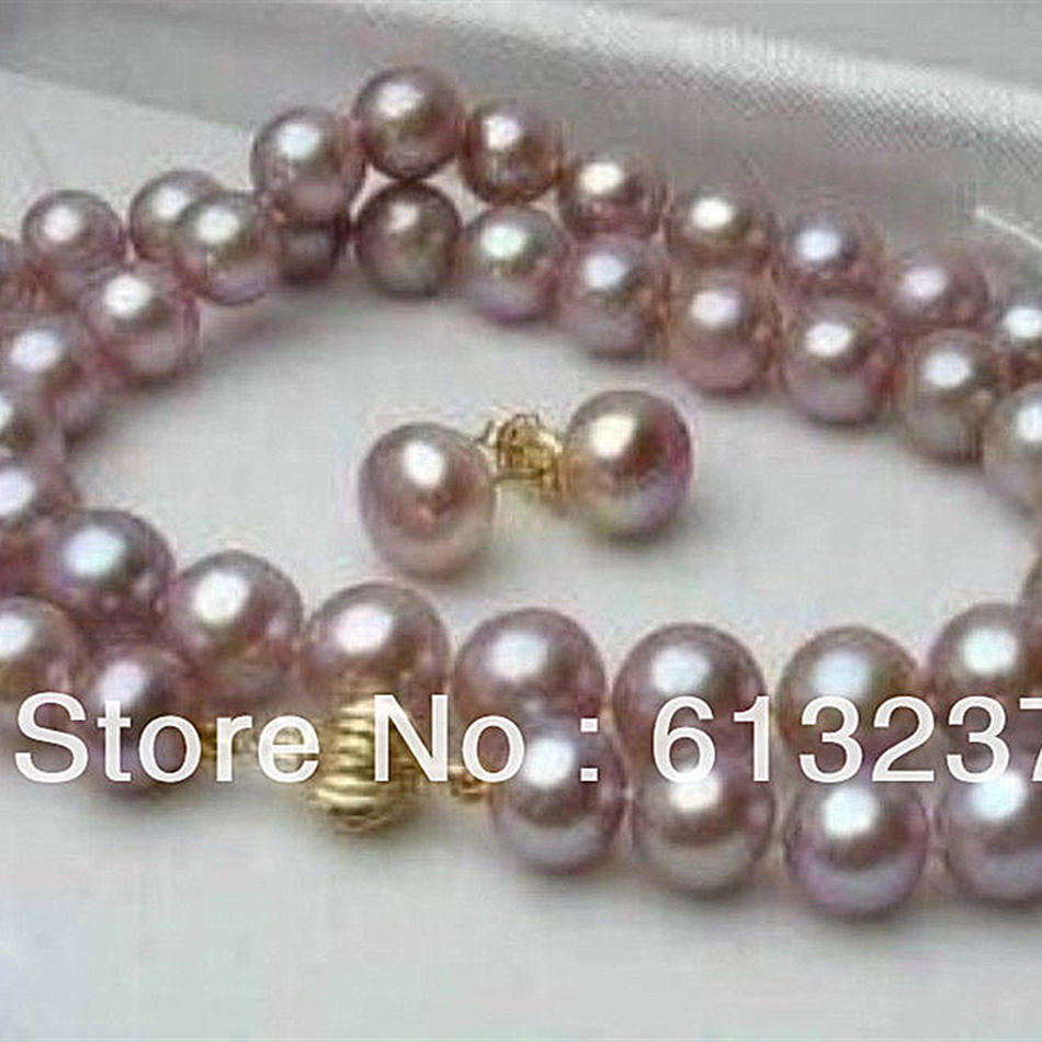 Natural 8-9mm purple newly pink akoya cultured round charms pearl beads diy necklace earring 18 inch MY4527