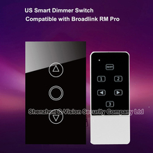Smart Home Automation Wireless Remote Control RF433 Dimmer Switch US Type Crystal Glass Panel for Broadlink RM2 RM PRO Geeklink