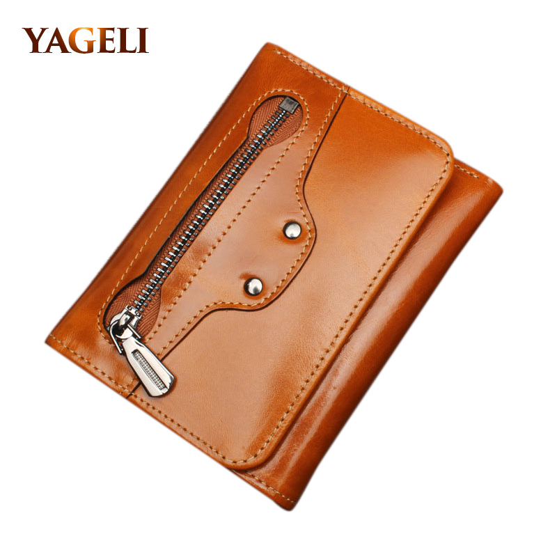 2017 Genuine Leather Women's Wallets Three Fold Short Ladies' Wallet Include Photo and Card Holder Cowhide Clutch and Purse simline fashion genuine leather real cowhide women lady short slim wallet wallets purse card holder zipper coin pocket ladies