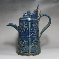 Antique Old Chinese porcelain tea pot ,blue glaze bottle,Classical decoration/collection & adornment, Free shipping