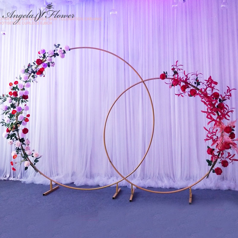 Image 2 - Wedding arch wrought iron round ring arch artificial flower decor birthday party celebration wedding props flower stand shelf-in Artificial & Dried Flowers from Home & Garden