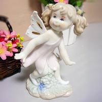 Lovely Porcelain Baby Fairy Sculpture Ornamental Art and Craft Adornment Accessories Embellishment for Room Decoration and Gift