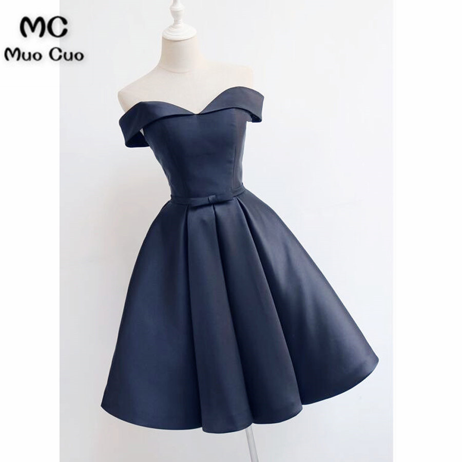 short dark blue party dress