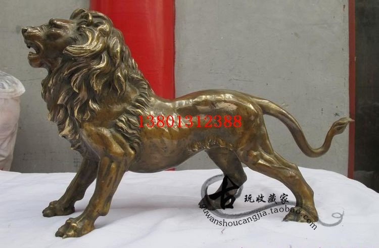 old bronze curio T8 decoration animal gift exquisite copper lion garden statue home decoration wedding animal Brass head real