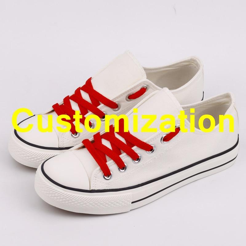 E LOV Hot Sale Men Canvas Shoes Customziation Print Designer Adults Team Shoes Graffiti Casual Shoes