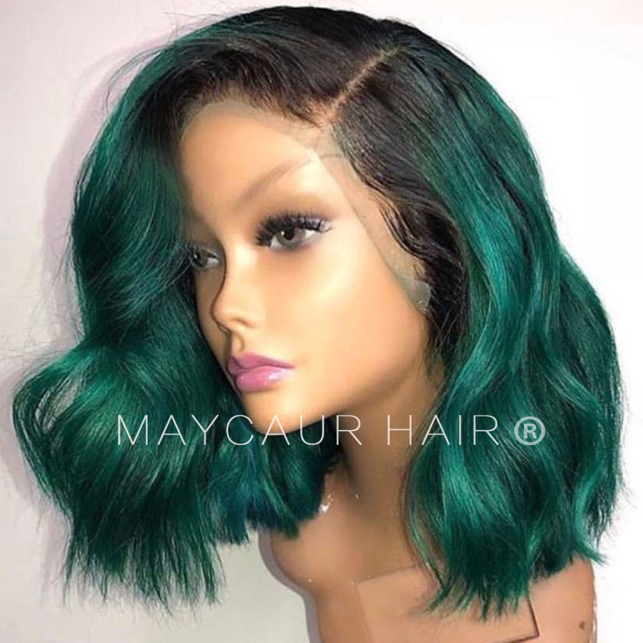 Image 2 - 2 Tones Black Ombre Green Synthetic Lace Front Wigs Heat Resistant Fiber Hair Dark Roots Short Body Wave Hair For Women-in Synthetic Lace Wigs from Hair Extensions & Wigs