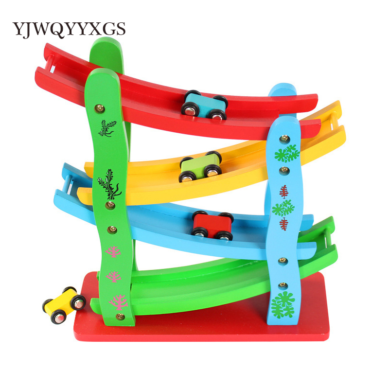 YJWQYYXGS 1set Baby Kids Wooden Ladder Gliding Car Wooden Slot Track Car Toys Educational Model To Slide Toy For Boy Gifts