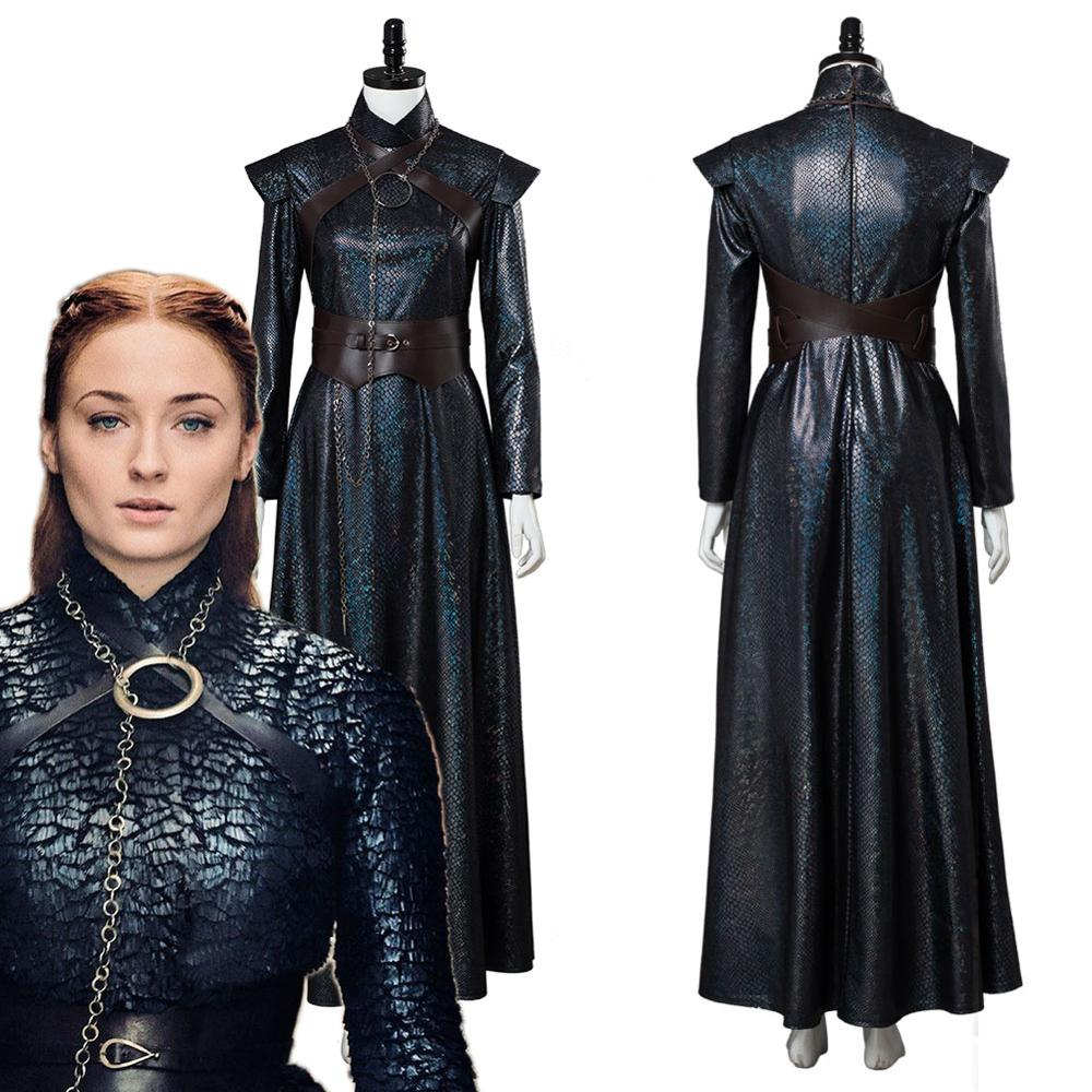 Game Of Thrones 8 Sansa Stark Cosplay Costume Dress Adult Women Girls Halloween Carnival Party Costumes Custom Made