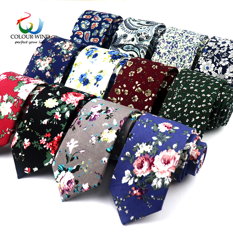 Classic Men's Flower Ties Handmade Cotton Tie For Men 6CM Narrow Floral Neckties Gift Wedding Party Casual Gravatas Cravat(China)