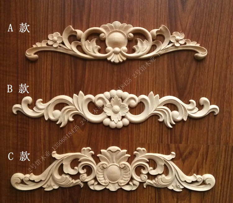 Wood carving wooden european style decals engraved flower