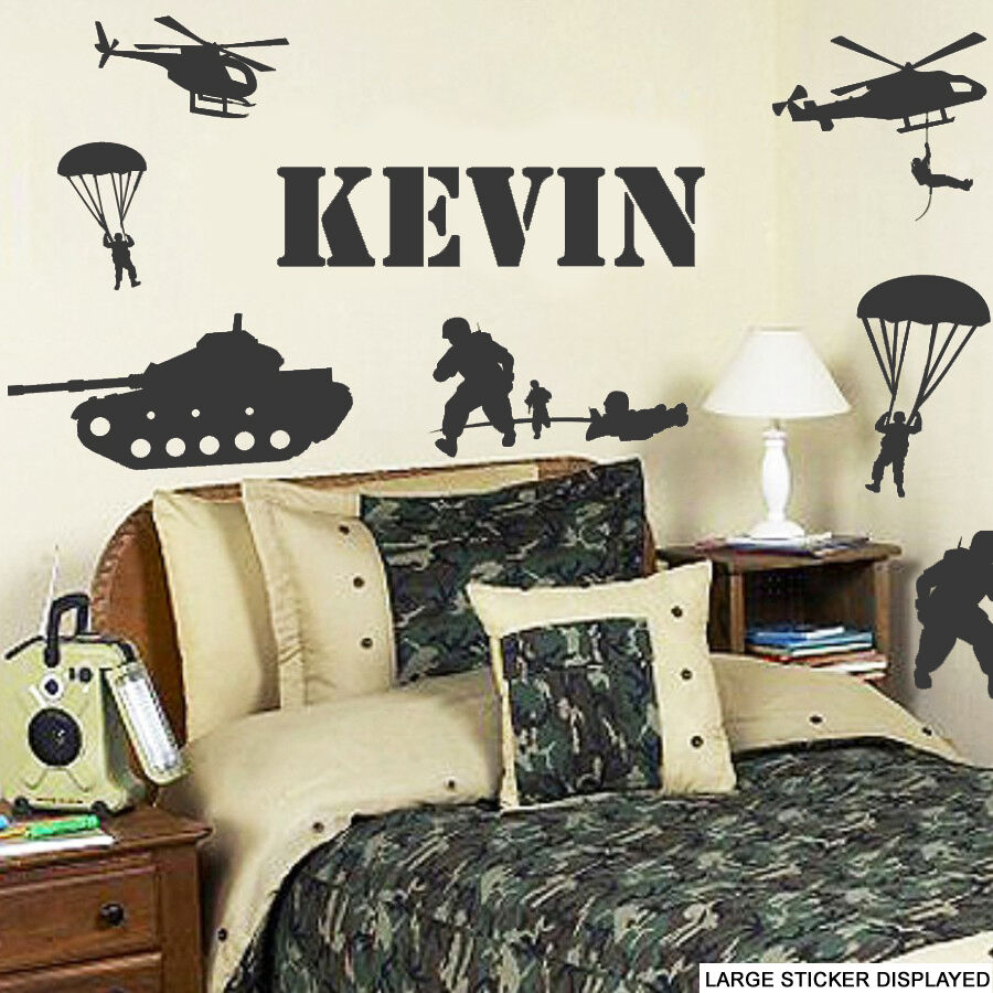 Personalised Army dog tag Name Vinyl Wall Sticker Decor Decal kids Room Girl Boy