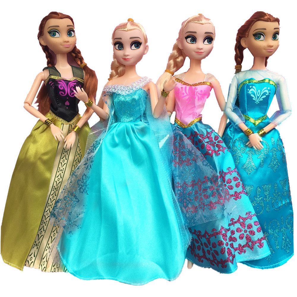 NK Newest  Fairy Tale Princess Doll Clothes For Frozen Movie Similar Dress Gown Party Outfit For Barbie Doll Best Girls' Gift fairy tale dress princess clothing copy brave merida long sleeve clothes for barbie doll 11 5 12 puppet girl toys gift