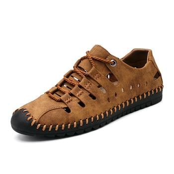 Clásico de los hombres de sandalias de los hombres cómodos zapatos de verano sandalias de cuero de gran tamaño suave sandalias de los hombres romano cómodo de los hombres de verano