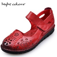 Summer Genuine Leather Mary Janes Ladies Flats Buckle Strap Comfortable Women Shoes Round Toe Solid Casual