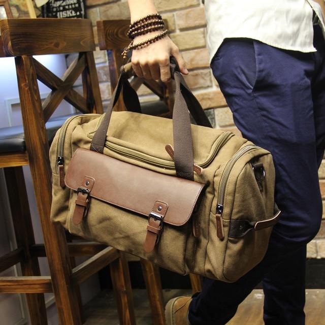 Men s Vintage Travel Bag Shoulder bag Large Capacity Canvas Tote Portable  Luggage Moving Daily Handbag Bolsa f566bc6dd9