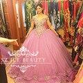 Aulic Longo Fluffy vestido de Baile Vestido De Noiva Rosa 2017 Ouro Frisado Apliques de Lantejoulas Fora Do Ombro Tule Vestidos De Noiva Vestidos
