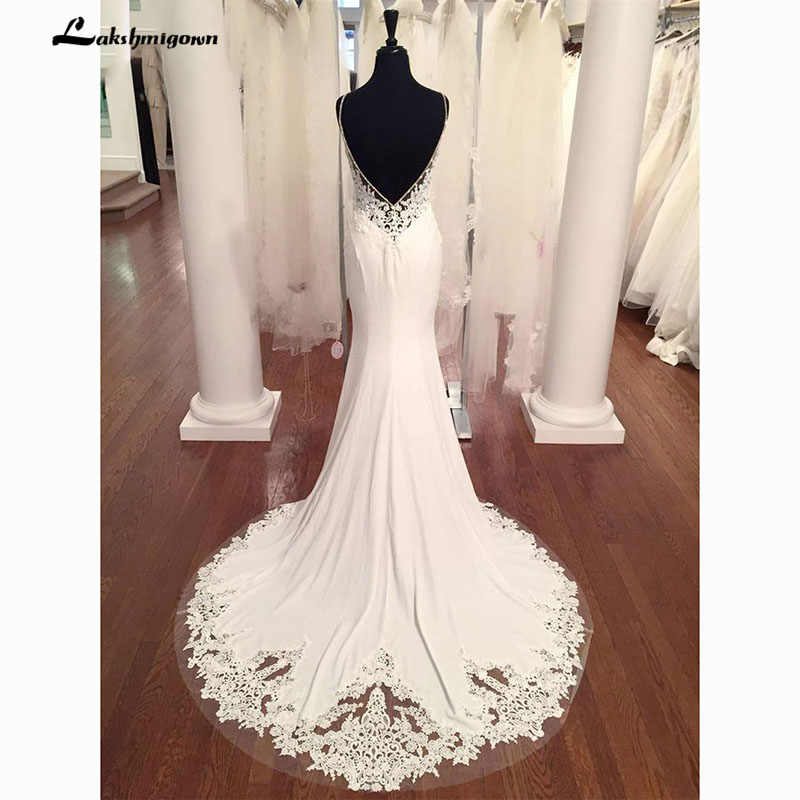 V Neck Mermaid Wedding Dresses Lace Appliques Boho Wedding Dress Backless Sexy robe de mariee 2019