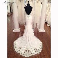 V Neck Mermaid Wedding Dresses Lace Appliques Boho Wedding Dress Backless Sexy robe de mariee 2019