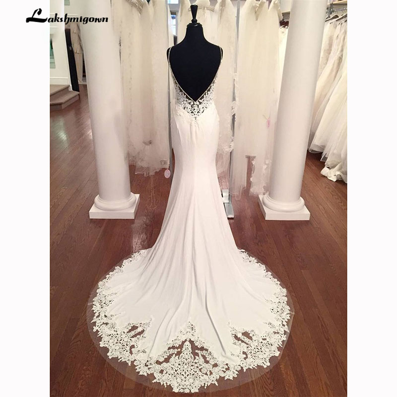V Neck Sirène Robes de Mariée En Dentelle Appliques Boho robe de Mariée Dos Nu Sexy robe de mariée 2018