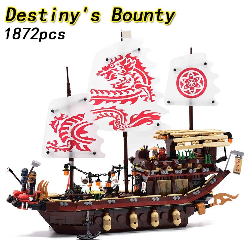 2018 Ninjagoed Ninja 1872 pcs Combat Final de Destin Bounty Bateau Figurines Building Block Briques legoing Jouets Pour Enfants 70618