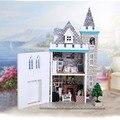 K012 лунный Замок DIY Деревянный Кукольный Домик С Мебелью, свет Модель Строительство Комплекты 3D Миниатюрный Кукольный Домик