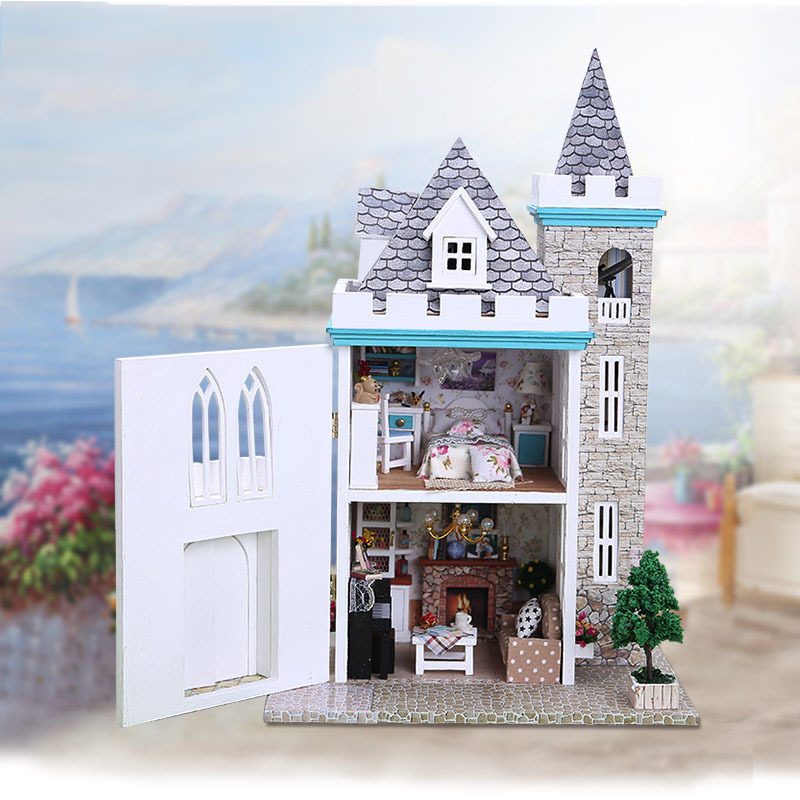 K012 moonlight castle diy wooden doll house with furniture for Build a castle house
