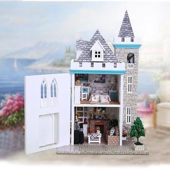 K012 moonlight Castle DIY  Wooden Doll House With Furniture ,Light Model Building Kits 3D Miniature Dollhouse