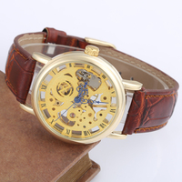 Casual New Fashion Retro Thin Case Mechanical Hand Wind Men Casual Leather Strap Wristwatches Classic Skeleton