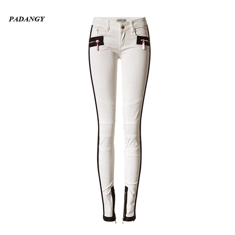 PADAUNGY Women Leather Patchwork Skinny Jeans Low Waist Embroidery Pencil Pants Stretch Trousers Ladies Pantalones Mujer Zipper american apparel patchwork women pencil jeans low waist imported skinny pants for women spring style brand clothing womens s2806