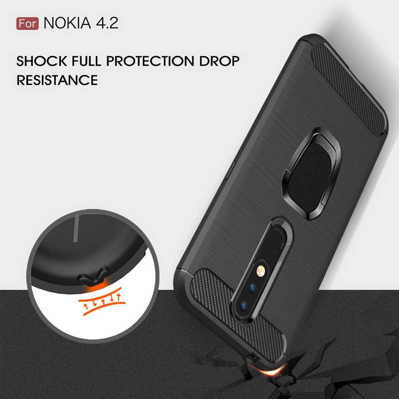Карбона и оптоволокна для телефона чехол для телефона для Nokia 9 7,1 6,2 5,1 4,2 3,1 2,1 плюс X7 X6 X5 1 2 3 4 5 6 7 8 кольцевой магнитный держатель силиконовый чехол