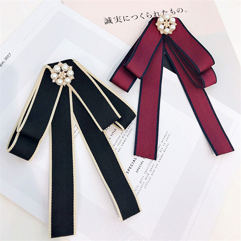 Korea Handmade Academy Fabric Imitation Pearl Rhinestone Shirt Pin Neck Bow  Tie Apparel Accessories Fashion Jewelry 9f29563d0a27