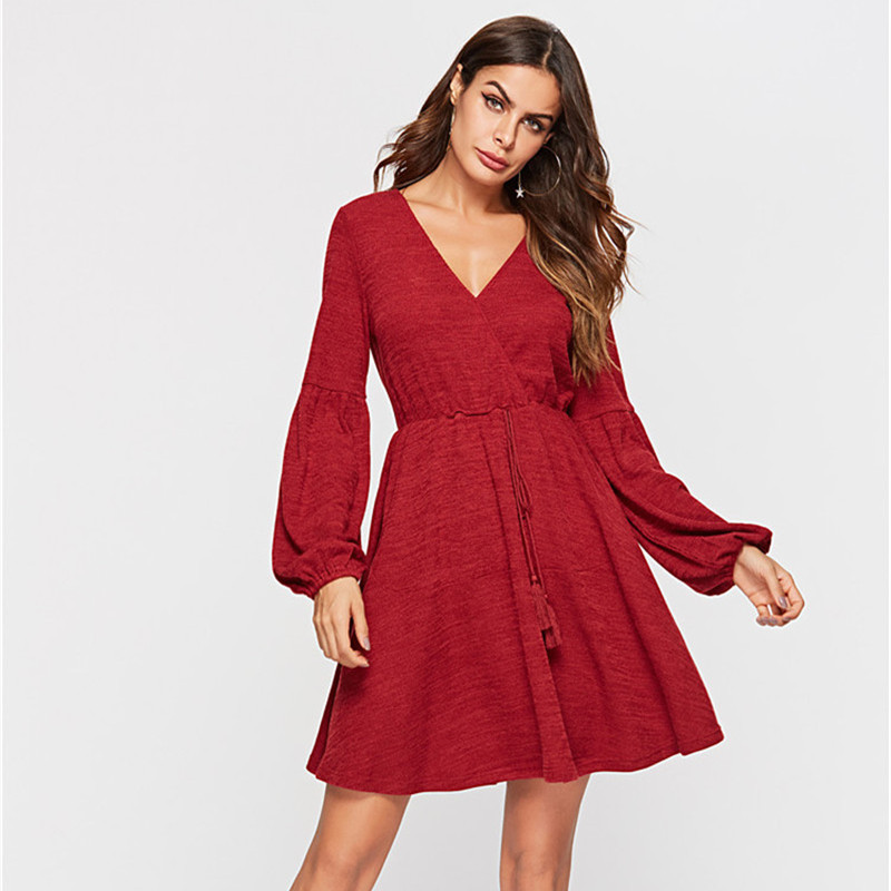Women's Clothing Frugal 2019 Women Spring Sexy & Club Party Night Dresses Knitted Vintage Long Sleeve Mini Red Dress Reliable Performance