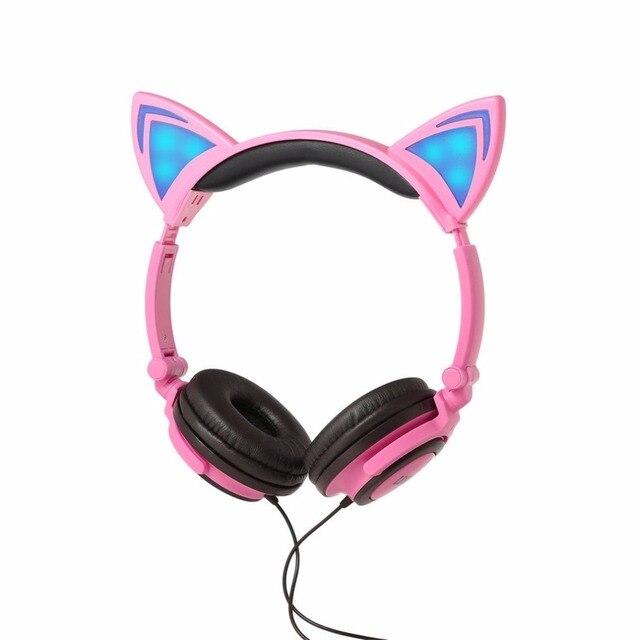 Cartoon Cute Lovely Cat Headphones Wired Headband Headphone with LED ...