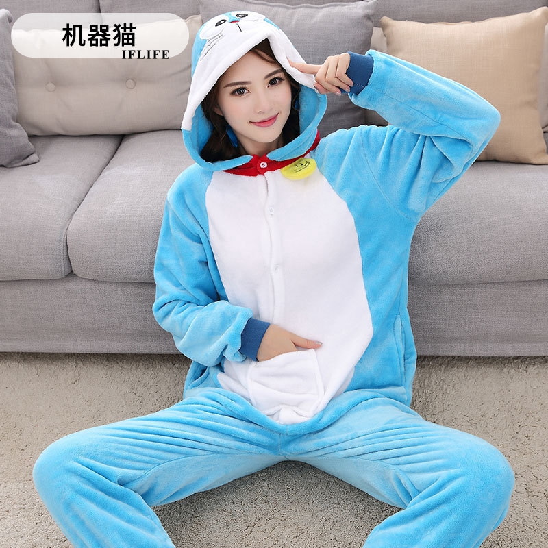 Blue Doraemon Pajama Set Women Men Unisex Adult Animal Pijama Flannel Onesie Cosplay Sleepwear Hoodie Halloween Holiday Costume