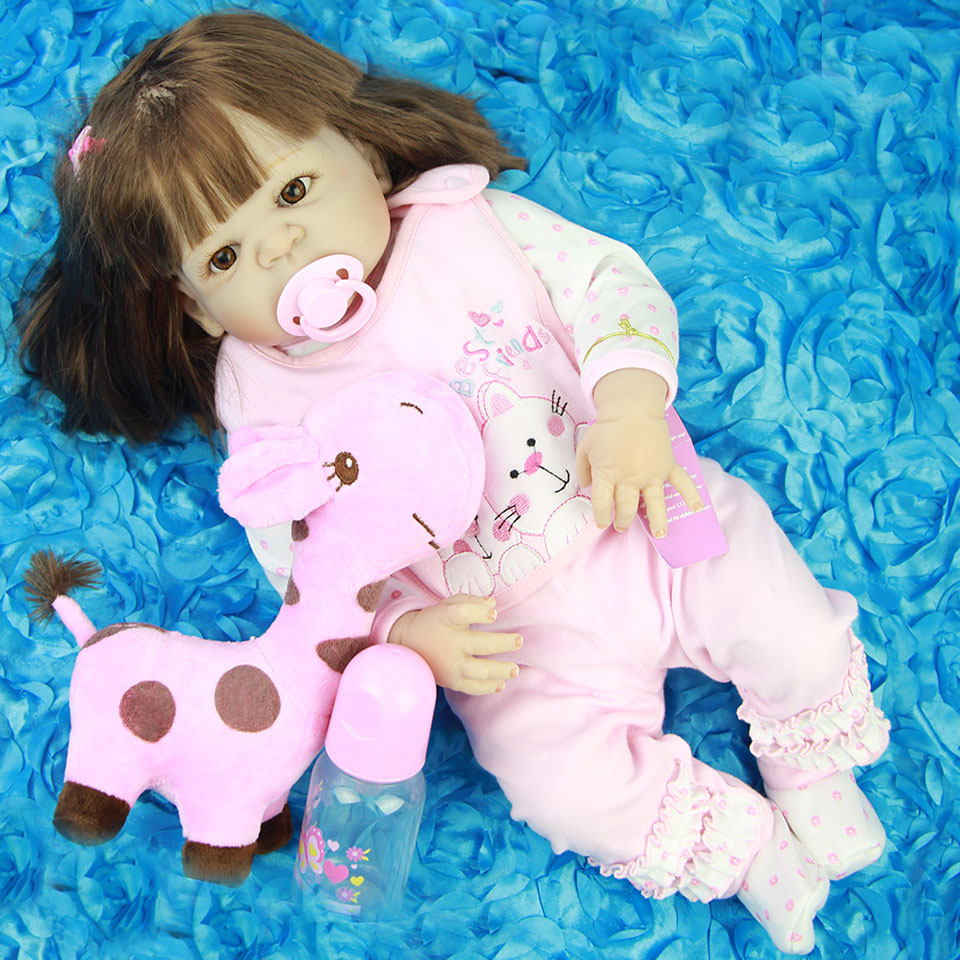 Long Synthetic hair Reborn Baby Dolls For Girl Toy 23'' Full Body Silicone Vinyl Babies Doll Realistic New Born Bebe Toddler HOT new design cute new born baby girl doll toy 23inch realistic reborn dolls silicone vinyl full body alive bebe boneca reborns
