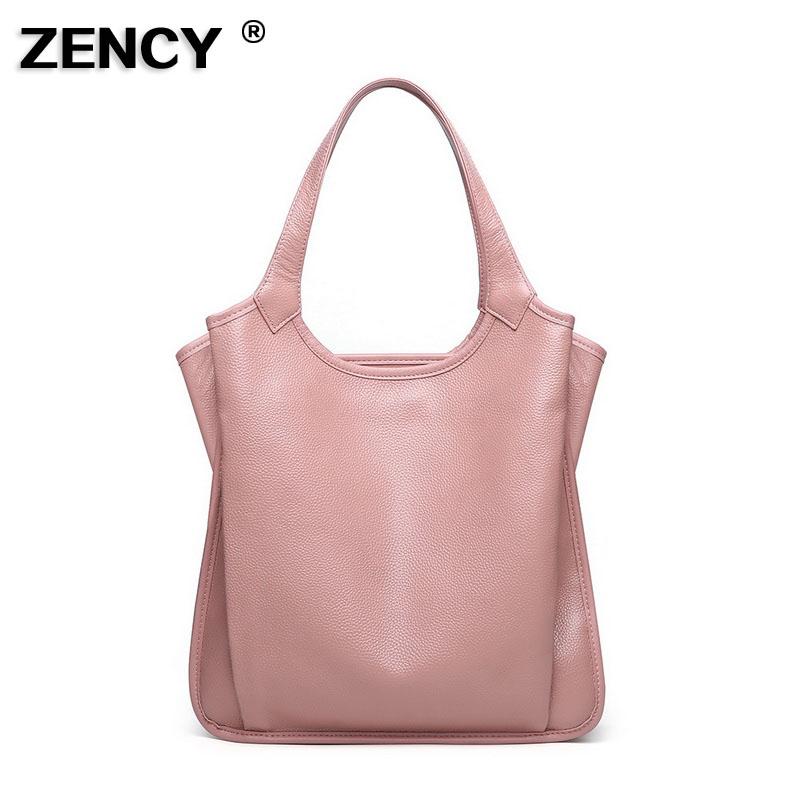 High Quality 2020 Fashion Large Real Cowhide Luxury Women Handbag 100% Genuine Cow Leather Tote Shoulder Bucket Style Handel Bag