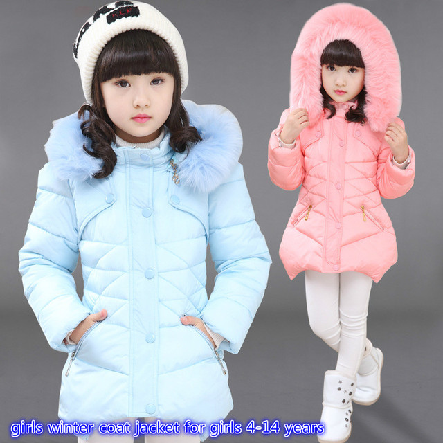 8e343409d6d23 New girls winter coat jacket for girls 4-14 years solid red pink light blue  cotton coat thickening clothing brand girls clothes
