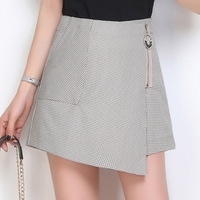Check Pattern Shorts Skirt Summer 2019 New Women's High Waist A Line Skorts Korean Version Plaid Thin Zipper Fly Culottes