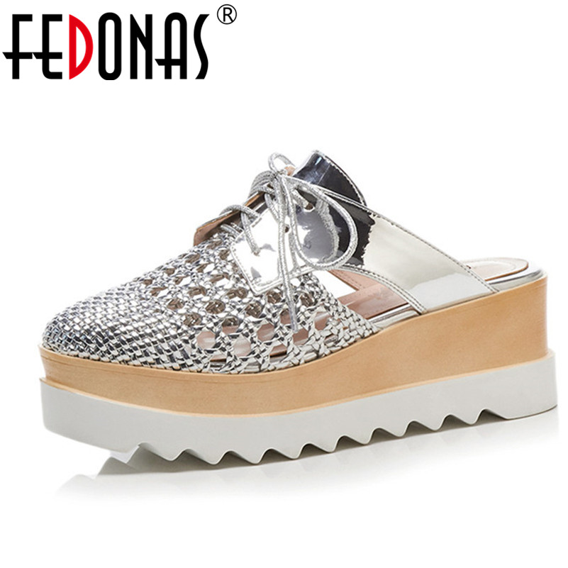 FEDONAS Women Sandals Fashion Slippers Wedges High Heels Summer Platforms Shoes Woman High Quality Silver Brown