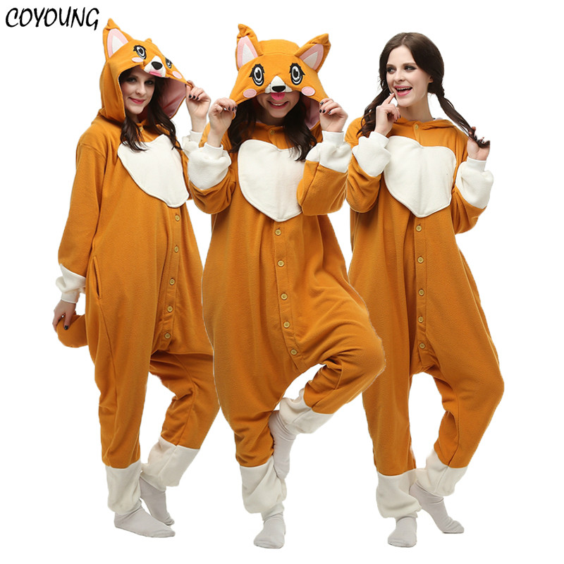 Donne di età Degli Uomini di Welsh Corgi Tutina Inverno Caldo Cute Dog Pigiami Del Fumetto Animale Halloween Costumi Cosplay Unisex Top