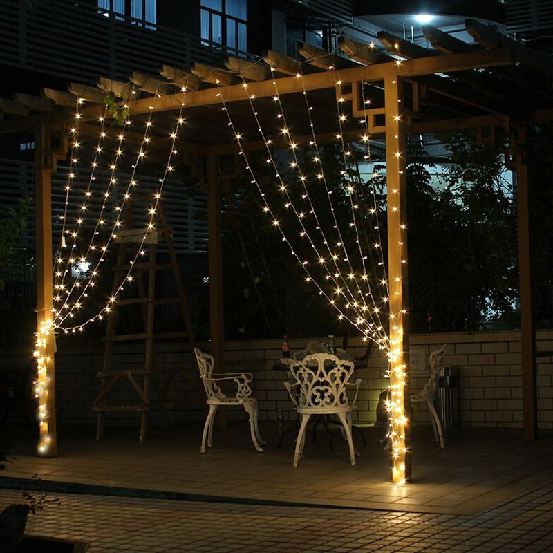 4.5M x 3M 300 LED Fairy String Curtains Light Window Icicle Lights ...