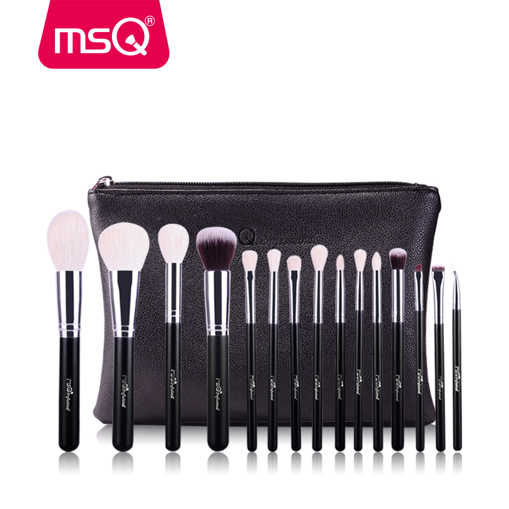 MSQ make-up kwasten set 15 stks Pro Foundation poeder make-up borstels Cosmetische Tool Hoge kwaliteit geitenhaar met PU lederen tas
