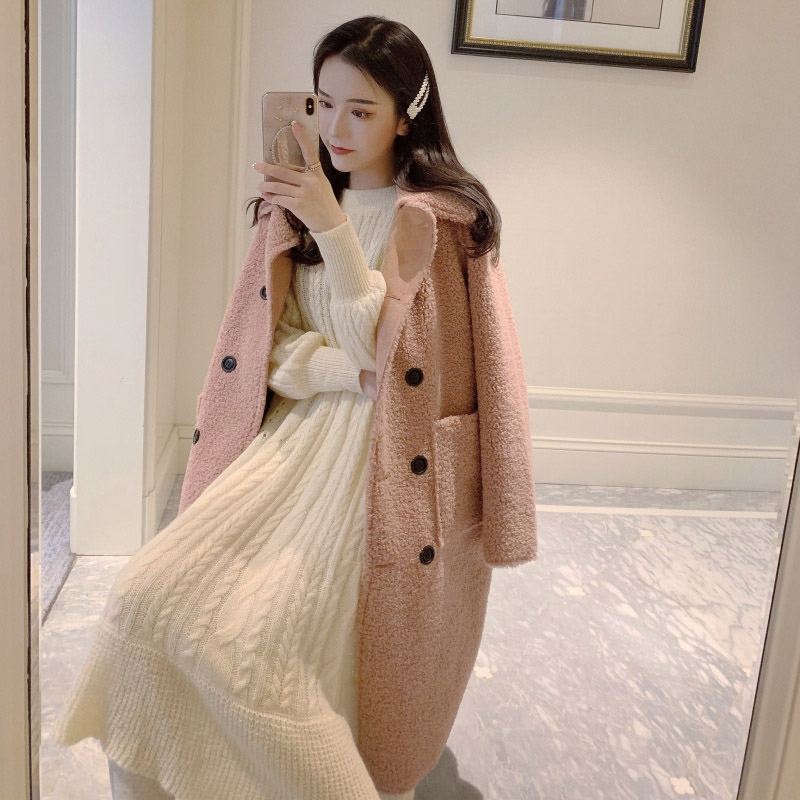 OLN 2019New Style Women Woolen Coat Long Fur One Chic Lamb Plush Sweet Double Breasted Overcoat Abrigo Mujer 877