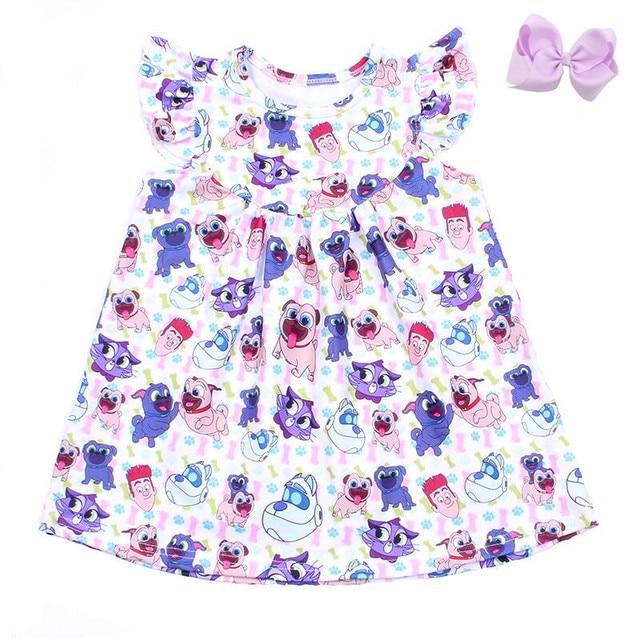 2019 Summer Girls Dress Cartoon Boy And Boy Printed Kids Pearl Dress Toddler Girls Milk Silk Clothing Matching Bow Wholesale