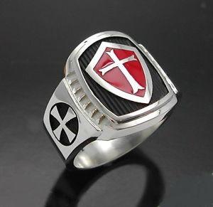 David Kabel Stainless Steel Titanium Men Red Shield Knight