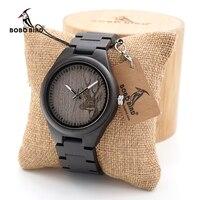 BOBO BIRD I26 Mens Black Ebony Wooden Watch Deer Head Dial Mens Top Brand Luxury Quartz